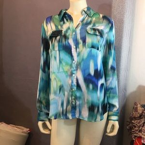 Chico's Blue/Green Button Up Blouse 1
